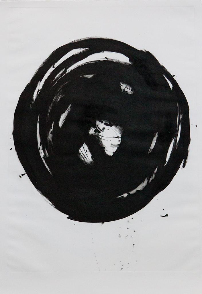 円相-15 Ensō.  Grabado al carborundo  edición 1/3  + P/A. Papel: Biblos 250gr. Medidas: mancha 70 x 100 cm, papel 76 x 112 cm. 2013